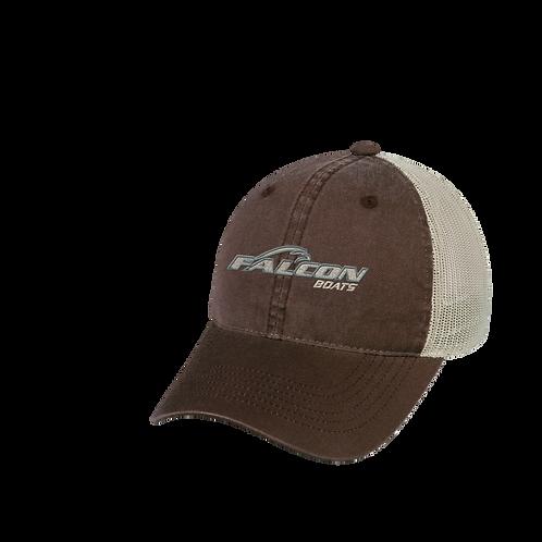 Falcon Boats Logo Mesh Back Hat - Brown and Tan