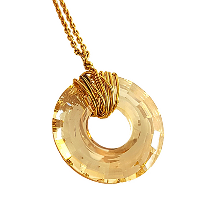 Crystal Sun Necklace - Gold