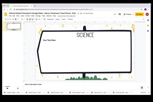Science Subject Slide Powerpoint / Google Slides - Nature/Adventure/Travel Theme
