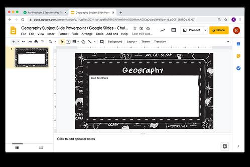 Geography Subject Slide Powerpoint / Google Slides - Chalkboard Theme