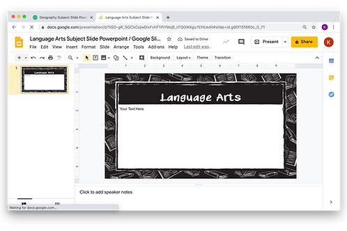 Language Arts Subject Slide Powerpoint / Google Slides - Chalkboard Theme