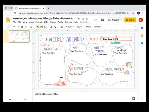 Weekly Agenda Powerpoint/Google Slides -  Nature/Adventure/Travel 2 Theme