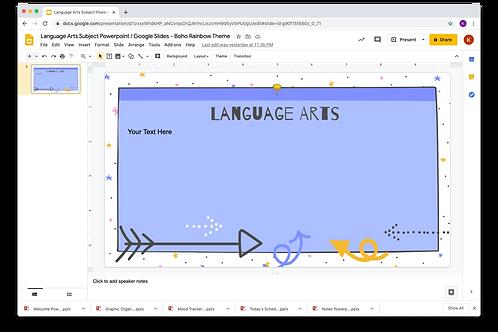 Language Arts Subject Slide Powerpoint / Google Slides - Boho Rainbow Them
