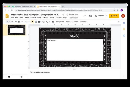 Math Subject Slide Powerpoint / Google Slides - Chalkboard Theme
