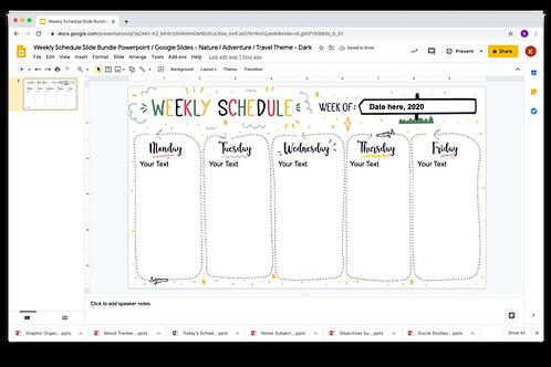 Weekly Schedule Powerpoint _ Google Slides - Nature/Adventure/Travel Theme