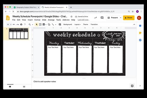 Weekly Schedule Powerpoint _ Google Slides - Chalkboard Theme