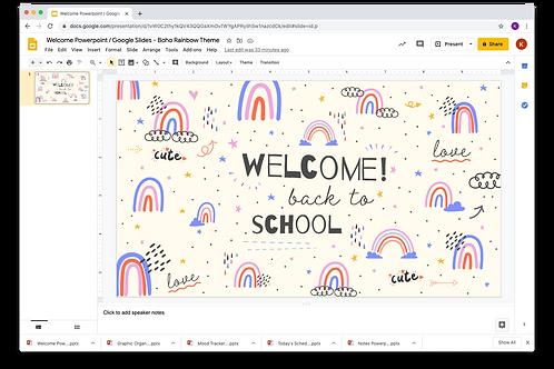 Welcome Powerpoint / Google Slides - Boho Rainbow Theme