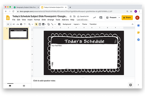 Today's Schedule Subject Slide Powerpoint / Google Slides - Chalkboard Theme