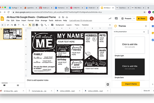 All About Me Powerpoint/Google Slides - Chalkboard Theme