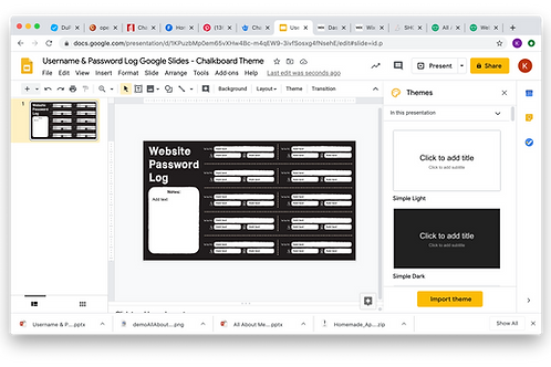 Username & Password Log Google Slides - Chalkboard Theme