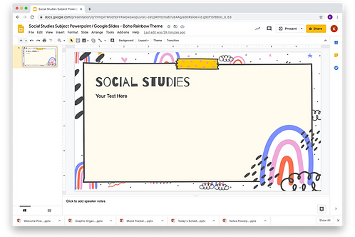 Social Studies Subject Slide Powerpoint / Google Slides - Boho Rainbow The