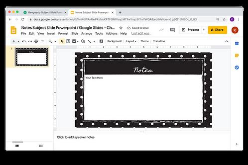 Notes Subject Slide Powerpoint / Google Slides - Chalkboard Theme