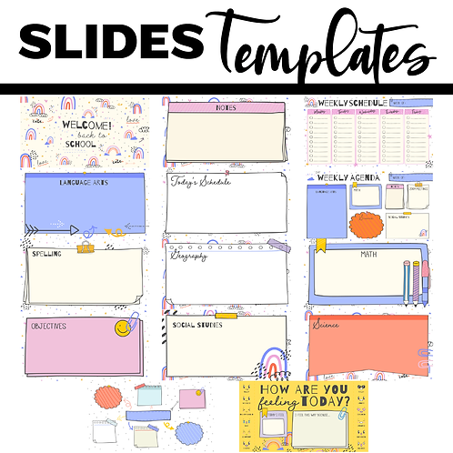 Back To School Slide Templates Powerpoint / Google Slides - Boho Rainbow Theme