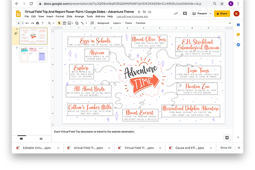 Virtual Field Trip And Report Power Point/Google Slides - Adventure Theme