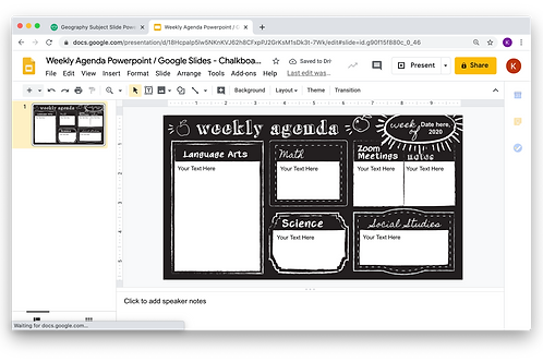Weekly Agenda Powerpoint _ Google Slides - Chalkboard Theme
