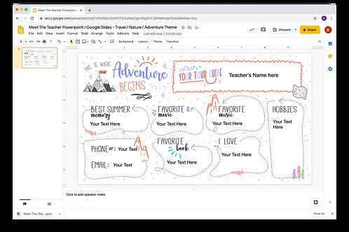 Meet The Teacher Google Slides - Nature/Adventure/Travel 2 Theme