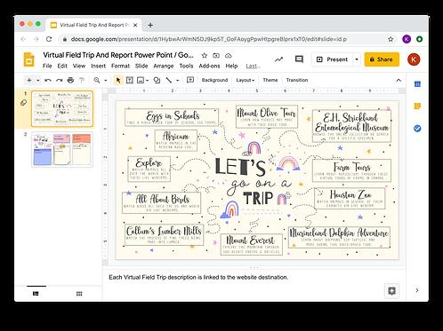 Virtual Field Trip And Report Power Point/Google Slides - Boho Rainbow Them