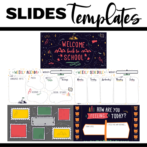 Back To School Slide Template Bundle Powerpoint / Google Slides - Nature Theme
