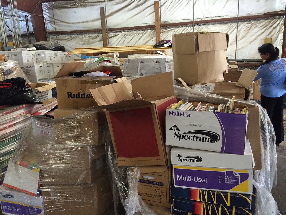 Books being organized for shipping in Houston