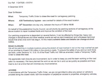 Temporary Traffic Order re A38 Tewkesbury By Pass Carriageway Patching Works - Rescheduled to the 16