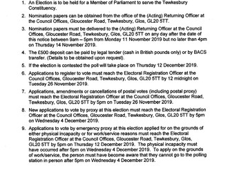 NOTICE OF ELECTION - UK Parliamentary Election for the Tewkesbury Constituency