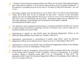 Notice of election for the South West electoral region for the European Parliament - 23rd May 2019