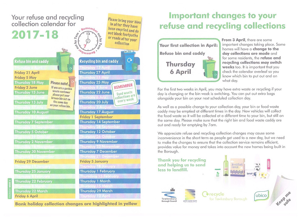 With effect from the 3rd April 2017 there are some changes taking place to the refuse and recycling collections by Tewkesbury Borough Council.  For the first two weeks in April, you may have extra waste or recycling if the bin week is switching.  You can put out extra bags alongside your bin on your next scheduled collection day, these can be obtained from the Parish Council office at the Wheatpieces Community Centre during office hours or fromn Tewkesbury Borough Council offices.  Please check the calendar so you know when your collections will be made.  Thank you.