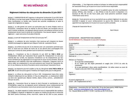 Documents d'inscription au vide grenier du ReMûMénage...rie
