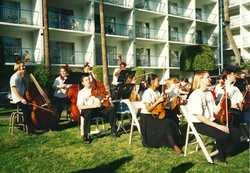 Outdoor rehearsal_string basses