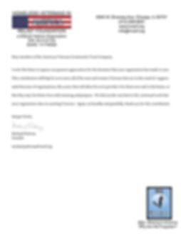 HVIARF Thank you letter American  Vetera