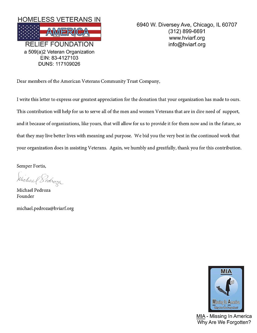 HVIARF Thank you letter American  Vetera