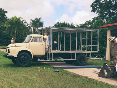 The truck becomes a bar!