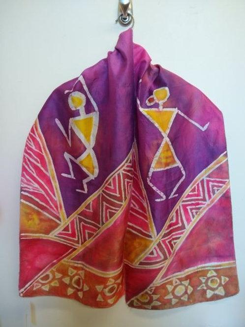 Purple-pink Worli Dancer Batik Silk Scarf