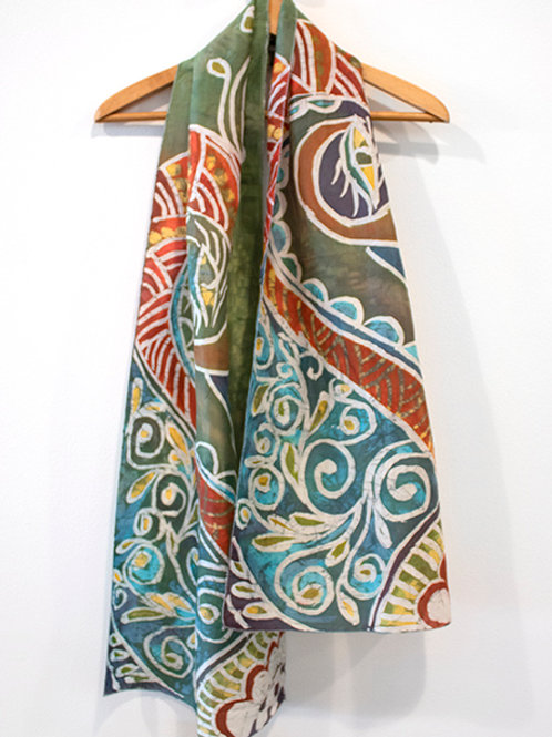 Peacock Batik Silk Scarf