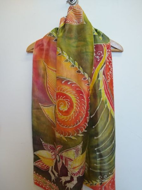 Green-Yellow-Orange Lovebirds Batik Silk Scarf