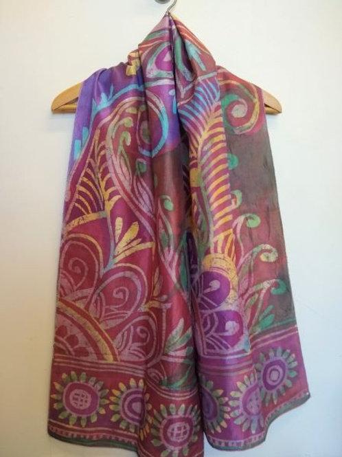 Purple Green Yellow Sun Paisley Batik Silk Scarf