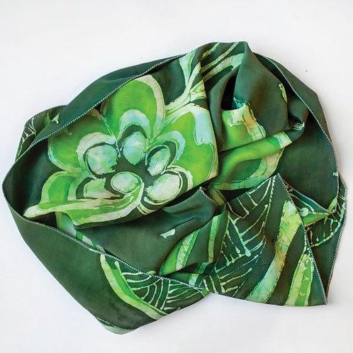 Green Stylized Botanical Batik Silk Scarf