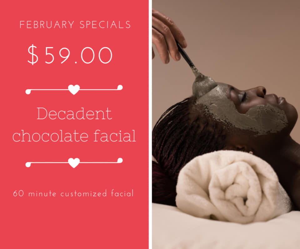Chocolate Facial Valentine's Special at 5 star day spa in SLC