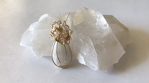 Handcrafted 14k yellow gold filled Rainbow Moonstone pendant