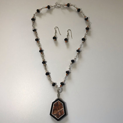 Intarsia with Black Onyx and Mushroom Rhyolite Necklace Set