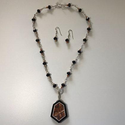 Intarsia with Black Onyx and Mushroom Rhyolite Necklace Set
