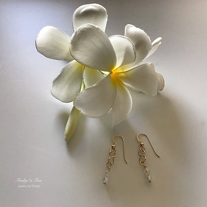 14k Gold Fill Infinity Wire & Swarovski 2 Crystals drop earrings