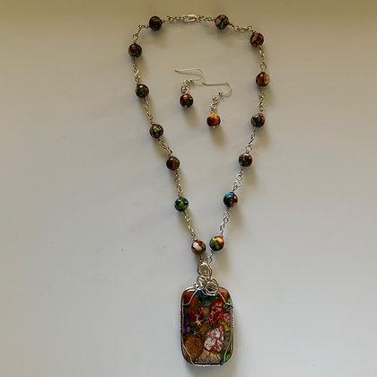 Impression Stone Pendant Necklace set