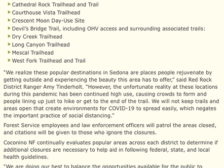 List of Closed Hiking Trails In Sedona