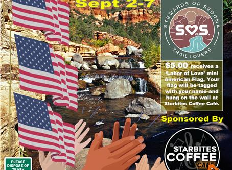 LABOR OF LOVE' - AMERICAN FLAGS FOR ESSENTIAL WORKERS & VOLUNTEERS : September 2-7: $5 American Flag