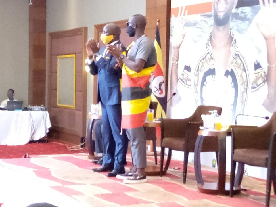 Eddy Kenzo with Hon. Godfrey Kiwanda