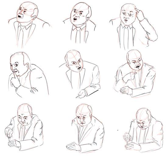 étude mains et expressions ( Les Tontos Flingueurs)