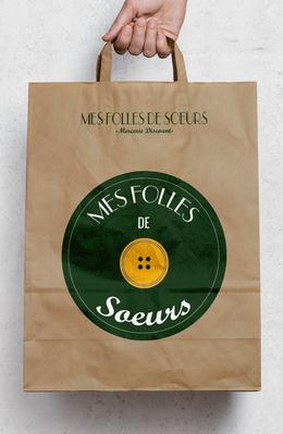 MockUp du logo de la mercerie Mes folles de Soeurs sur sac
