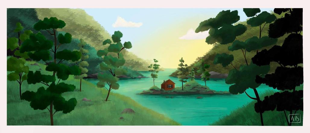 petite maison dans un grand paysage