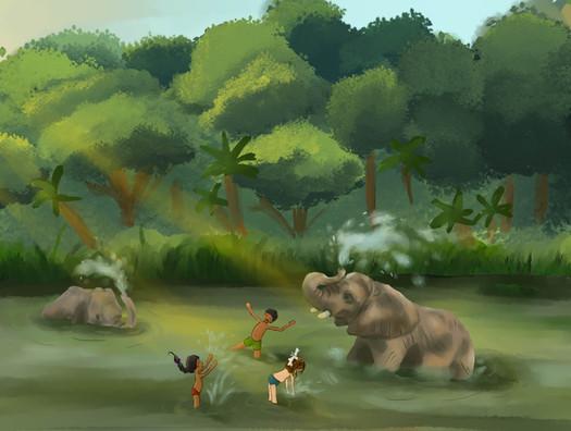 """""""Le Voyage d'Anouck en Inde"""" illustration pour une double page"""